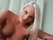 Superb blonde giving hot BJ in POV