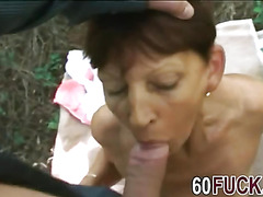 Dirty mature slut with saggy tits gets fucked