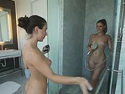 Lesbians Serena Blair And Presley Hart Make Love Under Shower