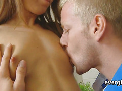 Indebted boyfriend allows sexy friend to fuck his lover for money