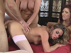 Smoking hot mature ladies demand cunt fucking from young stud