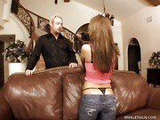 Natalia's Thong Covered Snatch Pounded