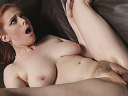 Busty redhead hottie gets tight pussy hammered by big black cock