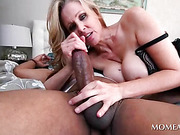 Blonde giving titjob and fucking black cock