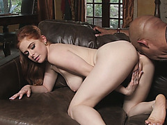 Redhead received pleasant surprise with her boyfriend mate big black cock.