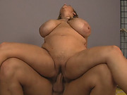 BBW woman leads guy's huge dick down her fat cunt
