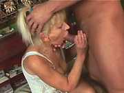 Naughty granny plays with pussy before getting banged doggy style