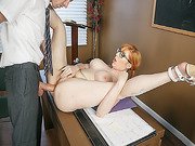 Professor D drills Lauren Phillips anal on the table