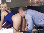 Blonde mom gets creampie after sex