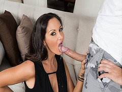 Ava Adams gives a persuasive blowjob sucking Keiran Lee