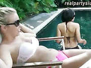 Nasty amateur girls pool party and orgy