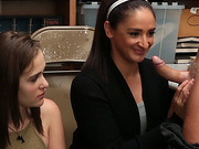 Shoplifter Peyton and mom Sienna hot 3some fuck