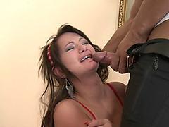 Intense anal pummeling makes young brunette Amanda Beck scream