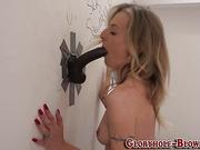 Babe tugs big black cock