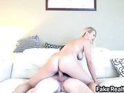 Cowgirl blonde Natalia Starr riding dong on couch