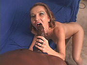 Big tits brunette milf sucking big dong interracial