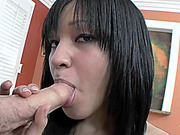 Cute coed Tess Morgan takes a white cock in her ebony twat