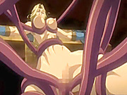 Chained hentai brutally drilled by monster tentacles