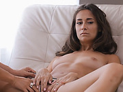 Hot brunette petite babe gets pleased orally by stud with help of hot MILF