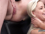Natural kitten is geeting urinated on and squirts wet vagina