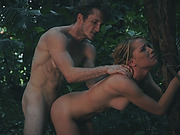 Blonde Raylin Ann Teen Outdoors Tied Doggy Style
