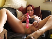 Bigtit submissive toy fucks herself