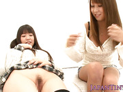 Kinky nippon trio babes pussy shaved and fucked
