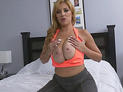 Busty blonde slut sideways shaved cunt long cock