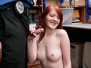 Redhead thief Krystal Orchid got her pussy fucked