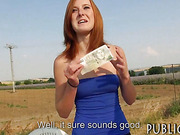 Redhead amateur paid for sexual acts by a stranger who finds out she is a squirter