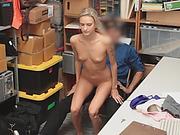 Skinny blonde thief riding big schlong on chair