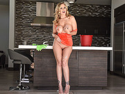 Beautiful blonde babe Julia Ann worships big cock