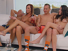 Naked amateur couples prepare for passionate swinger orgies