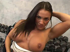 Two bodybuilders bang Kristine Madison in gym