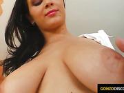 Big tit Kristi in a nice gonzo style hardcore scene