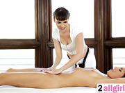 Hot lesbian action on massage with Dana DeArmond and Rylin Rae
