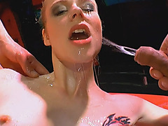 European babe gets warm golden shower and sucks
