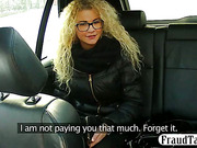 Curly hair blonde amateur from Europe having sex in a car