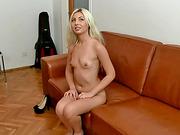 Slim blonde Julia enjoys her porn tryout