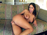 Brunette with hot tits plays with pussy before getting asshole penetrated