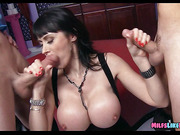 Huge Tit cougar finds Big cocks at the club