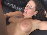 A Big tit brunette MILF in red stockings gets her tight hungry ass banged hard