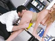 Boss bangs natural busty brunette babe