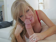 Hot brunette MILF with big tits giving an incredible blowjob and deepthroat to a stud!