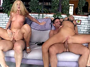 Blonde sluts get asshole roughly filled in foursome