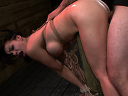 Asian bound to post and fucked rough