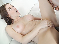 Sensual brunette with beautiful face getting destroyed by a big black cock