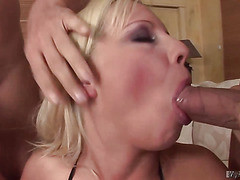 Cute blonde has double penetration
