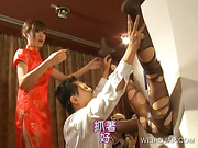 Japanese sweetie getting feet licked on gloryhole