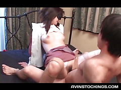 Jap nympho humping shaft in sexy stockings while blindfolded
